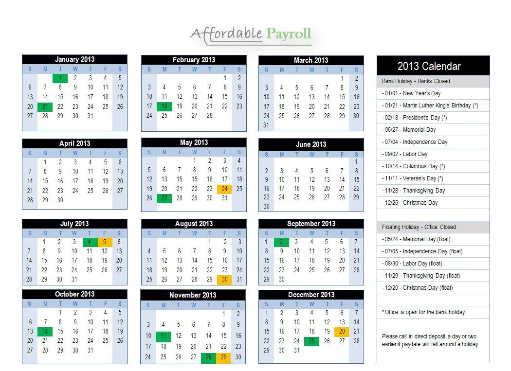 Weekly Payroll Calendar July
